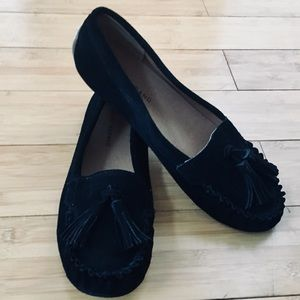 Lucky Brand Ailania Black Suede Tassel Moccasins